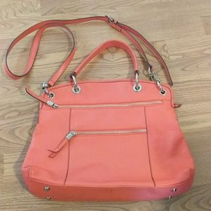 B. makowsky Satchel Crossbody Deep Coral Bag Purse